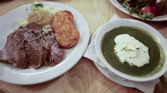 Salm Bräu: boiled beef Austrian style with apple-radish sauce, spinach puree on the side