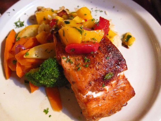 Tanglewoods: Five Spiced Seared Atlantic Salmon Fillet with red chile mango salsa and basmati rice