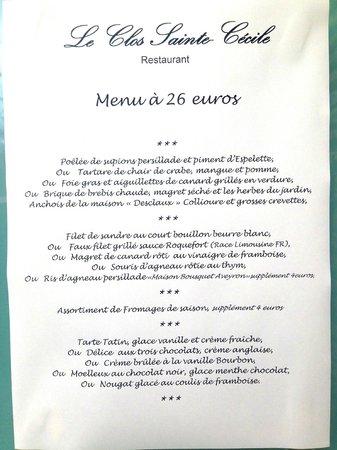 le Clos Sainte Cecile : menu 26€