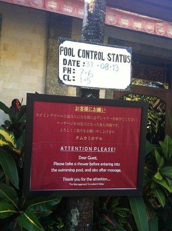 Tamukami Hotel: surveillance sanitaire piscine