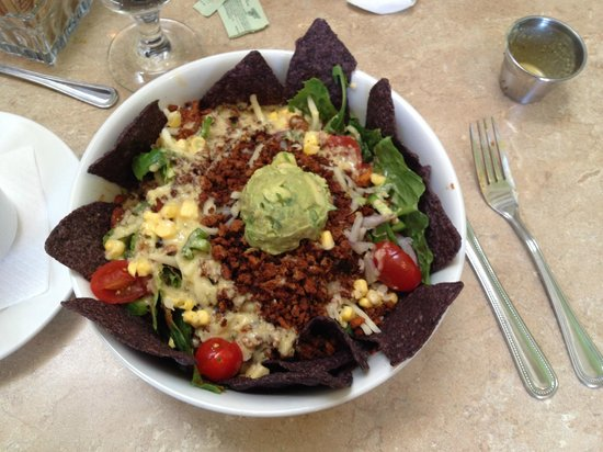 Laughing Seed Cafe: Tico Taco salad with blue corn ships