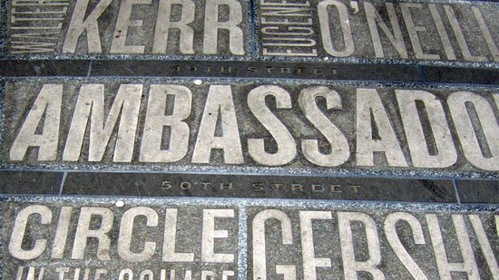 Inside Broadway Tours: Theatre names embedded on the pavement in Duffy Square