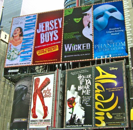 Inside Broadway Tours: Billboard adverts for the shows on Times Square
