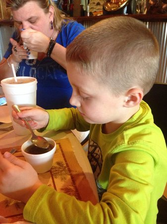 Fish River Grill #2 : Jayden eating his swamp soup