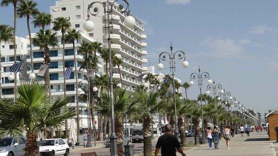 Krasas Beach Apts: Finikoudes Palm tree promenade