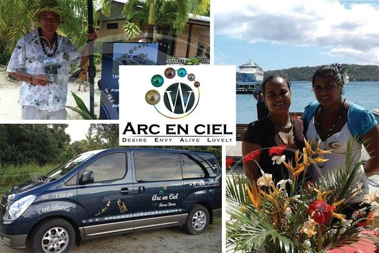 Arc En Ciel Bora-Bora : Ambiance on the dock with CRUISES SHIP