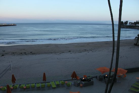 Dream Inn, a Joie de Vivre hotel: beach from a lounge chair, note the walls are glass for optimal wave watching :)