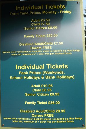 Tropical Wings Zoo : the price list