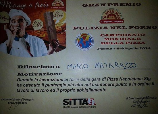 Pizzeria Manuno: attestato mondiale 2014 1 classificato