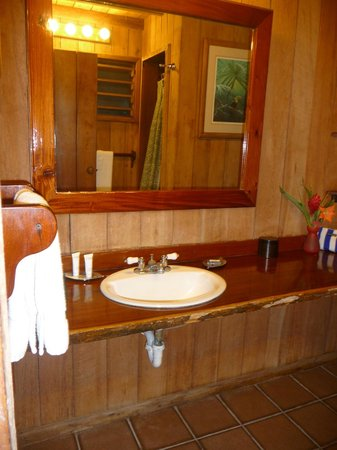 Chan Chich Lodge: Bathroom with shower