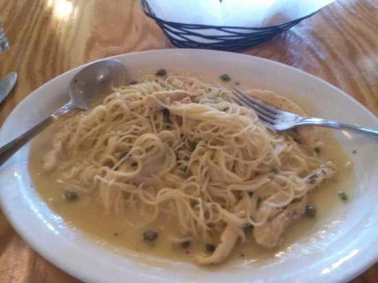 Genovese's: Angel hair with chicken, lemon caper sauce.