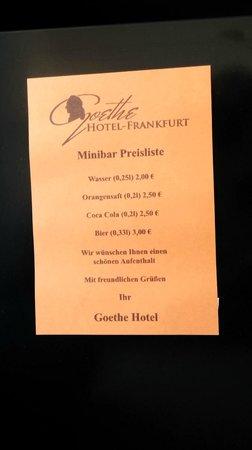 Goethe Hotel: Minibar