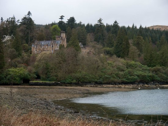 View of Stonefield Castle Hotel on walk over to the little Island