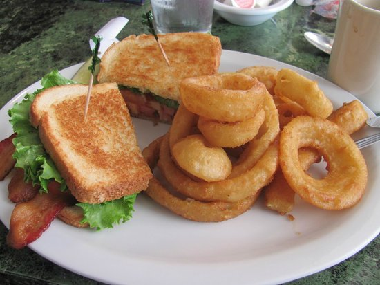 Moro Cafe & Bakery: BLT with onion rings.