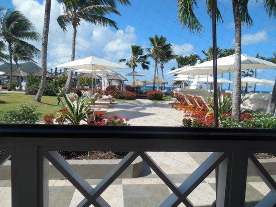 Sandals Grande St. Lucian Spa & Beach Resort: view from breakfast/lunch buffet