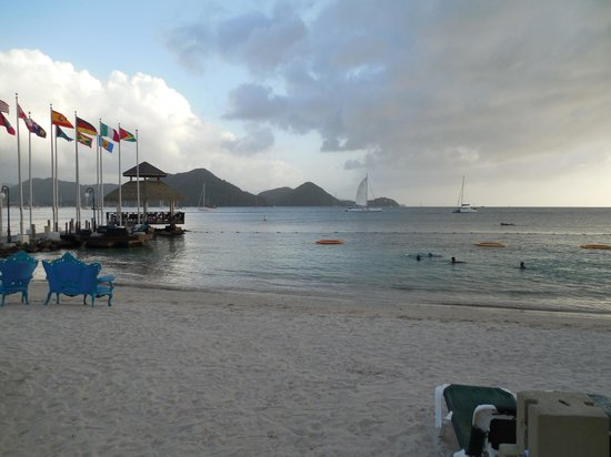 Sandals Grande St. Lucian Spa & Beach Resort: view from beach