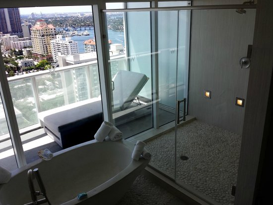 W Fort Lauderdale Bathroom And View