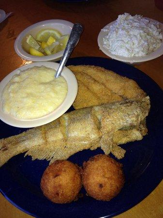 David's Catfish House: 1 whole catfish 1 fillet grits and slaw