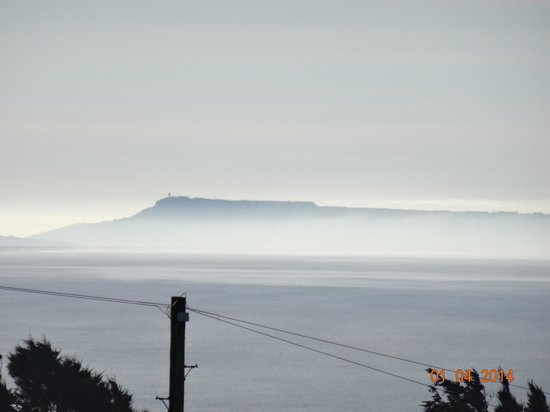 Chesil Beach Lodge : View of foggy Portland from apartment