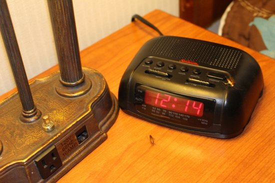 Tropicana Inn & Suites : roaches, that is their clock, lamp, and blanket