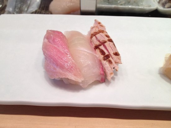 Tsukiji Sushisay Honten: Toro, red snapper and seared tuna (nice smoky flavor) are first three sushi of omakase
