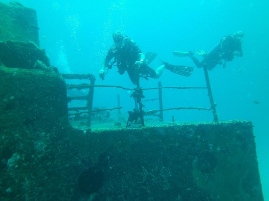 PADI Caribbean Dive College : checking out the wreck