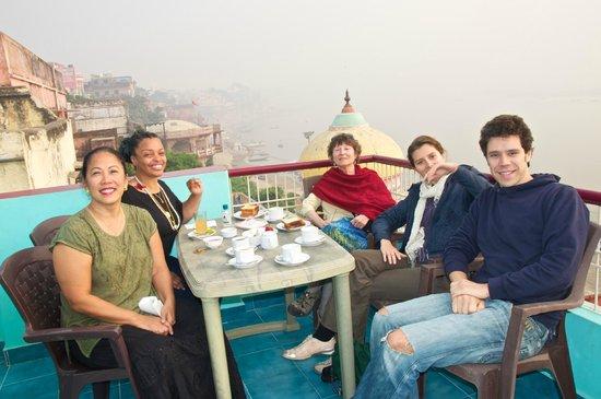 Kedareswar Bed & Breakfast: On Rooftop terrace for breakfast