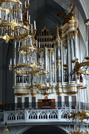 Augustinerkirche: The chandeliers and organ at St. Augustine's Church