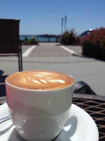 Joe Momma's Coffee : Perfect Macchiato and a view of the Pacific