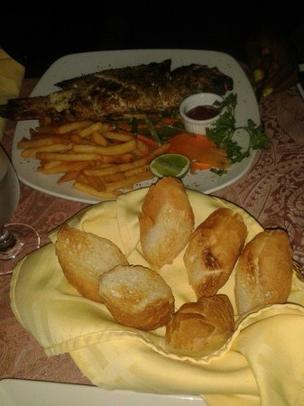 J&B Anchor Bar and Grill : Grilled fish with french fries