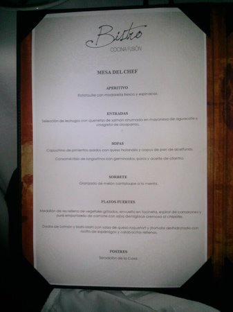 Buenaventura Grand Hotel & Great Moments All Inclusive: aqui el menu de una  cena muy rica en verdad !!!