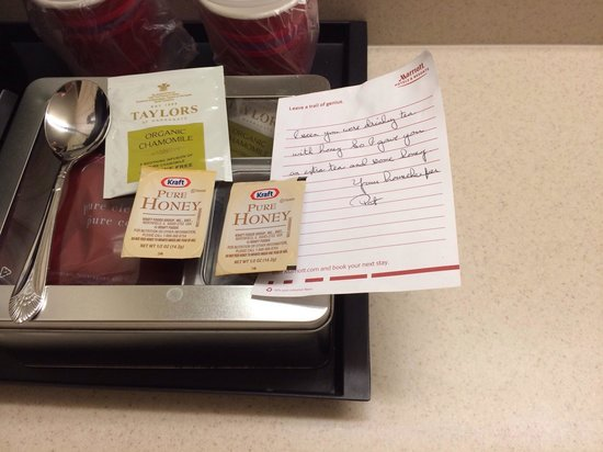 "Pittsburgh Marriott North: My housekeeper Pat wrote, ""I saw you were drinking tea with honey so I gave you an extra tea and"