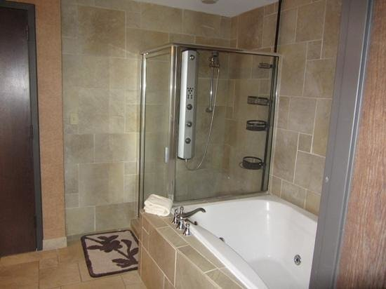 Clifty Inn : Suite 401: Bathroom with fancy shower sprays and jet tub