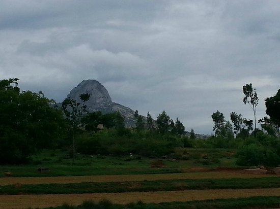 Shivagange: View of the hill from the road