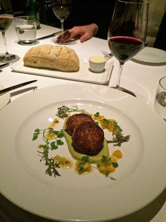 New York Grill: King Crab & Rock Shrimp Cakes, Mango Salsa, Avocado - Wasabi Puree