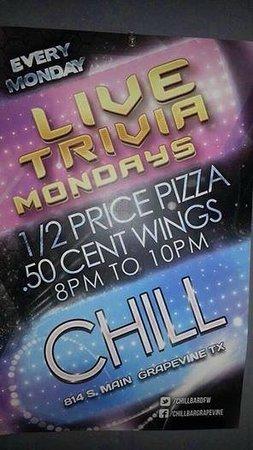 Chill Restaurant & Bar: Live Trivia with DJ Todd. Smart A$$ Dumb A$$