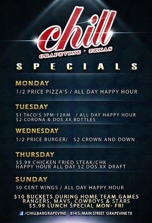 Chill Restaurant & Bar: Specials, Food, Drinks, Happy Hour