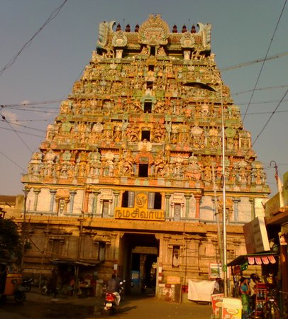 Tiruchirappalli, India: Tiruvanaikka temple tower-Muralitharan photo