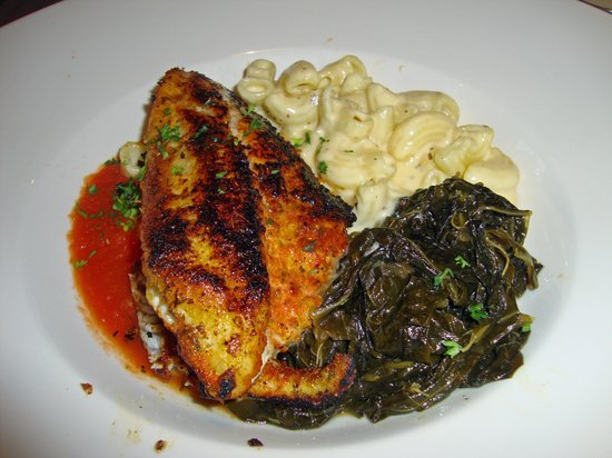 Sweet T's Restaurant & Bar: Blackened Catfish, greens and mac-n-cheese were delicious