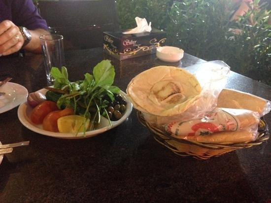 Lebanese Flower: lovely bread & salad