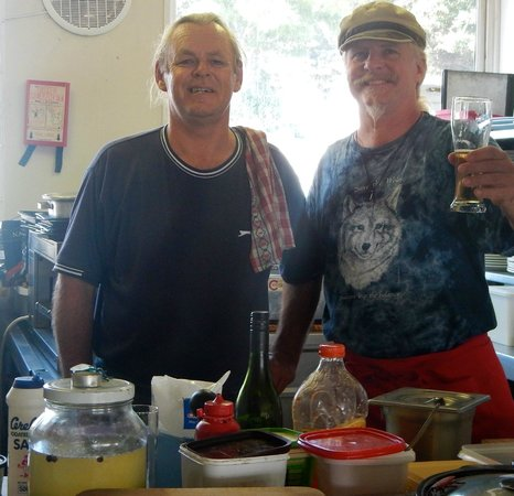 Tolbos Bistro : My husband in the kitchen with Wayne.
