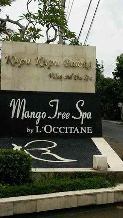 Kupu Kupu Barong Villas and Tree Spa: papan nama didepan jalan