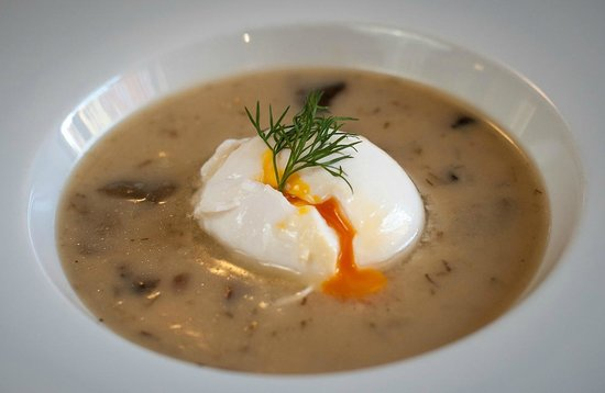 "Hostinec DEPO - gastro pub : Depo soup - South Bohemian ""Kulajda"" with poached egg"