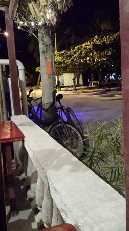 Coconut Reef Caribbean Trattoria: our bicycles outside restaurant
