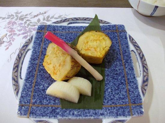 Fulets Awajiso: 夕食(焼物:鰆ケンチン焼、長芋酢漬、初神)