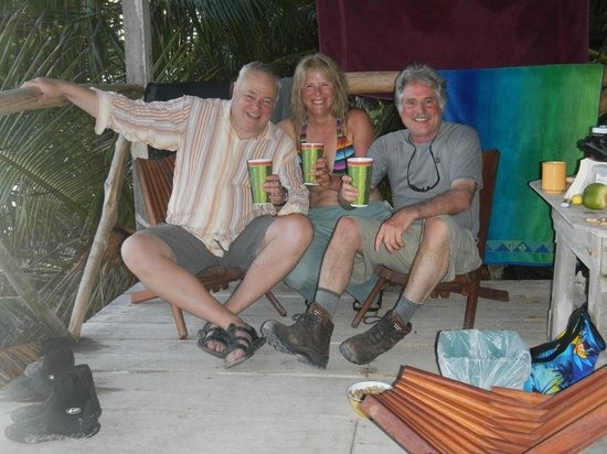 Long Caye Resort: Coconut rum and fresh squeezed orange juice on the cabana deck