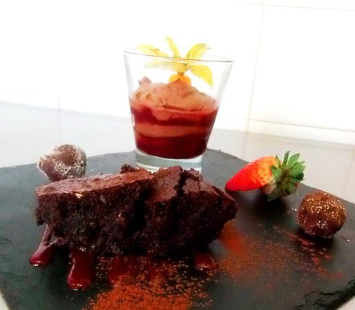 The Scholars Restaurant: Trio Of Chocolate; Cherry-Chocolate Mousse, Chocolate-Hazelnut Brownie, Chocolate Truffles