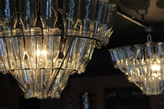 Our milk bottle chandeliers picture of cafe restaurant riba cafe restaurant riba our milk bottle chandeliers mozeypictures Choice Image