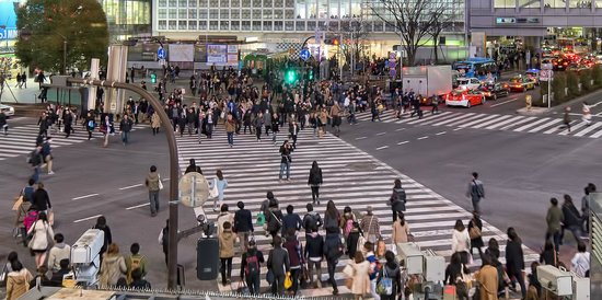 Shibuya Pedestrian Scramble: Shibuya Crossing viewed from Starbucks coffee