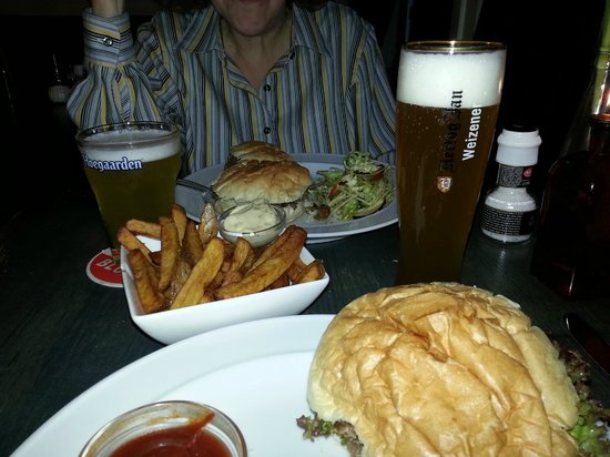 great burger and fries! super beer - picture of 'skek, amsterdam